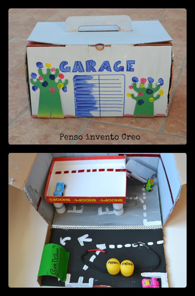 Riciclo creativo per bambini garage di cartone per le for Disegni di addizione garage