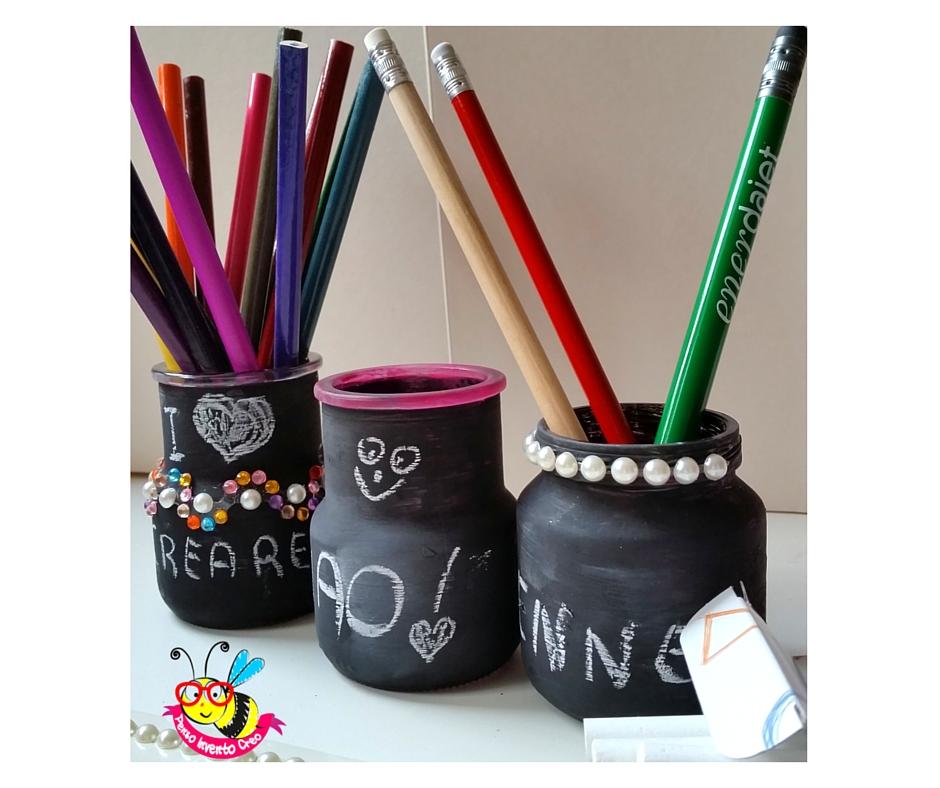porta penne lavagna DIY