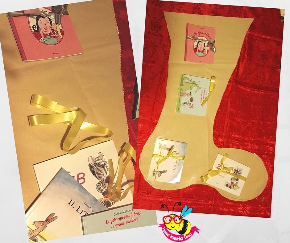 Come creare una calza befana di carta da pacchi fai da te cm 85con dei libri per bambini