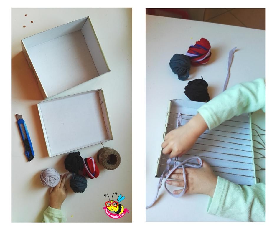 come creare un telaio di cartone con una scatola da scarpe