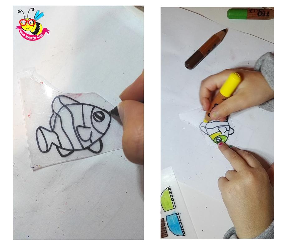 disegnare un pesce su plastica termoretraibile ( polyshrink) e colorare con le matite