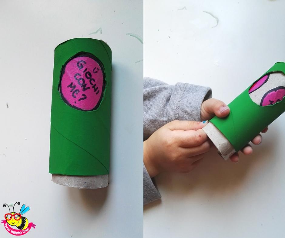 2 rotoli di carta igienica inseriti uno dentro l'altro, scorrendo visualizzano messaggi diversi per il papà