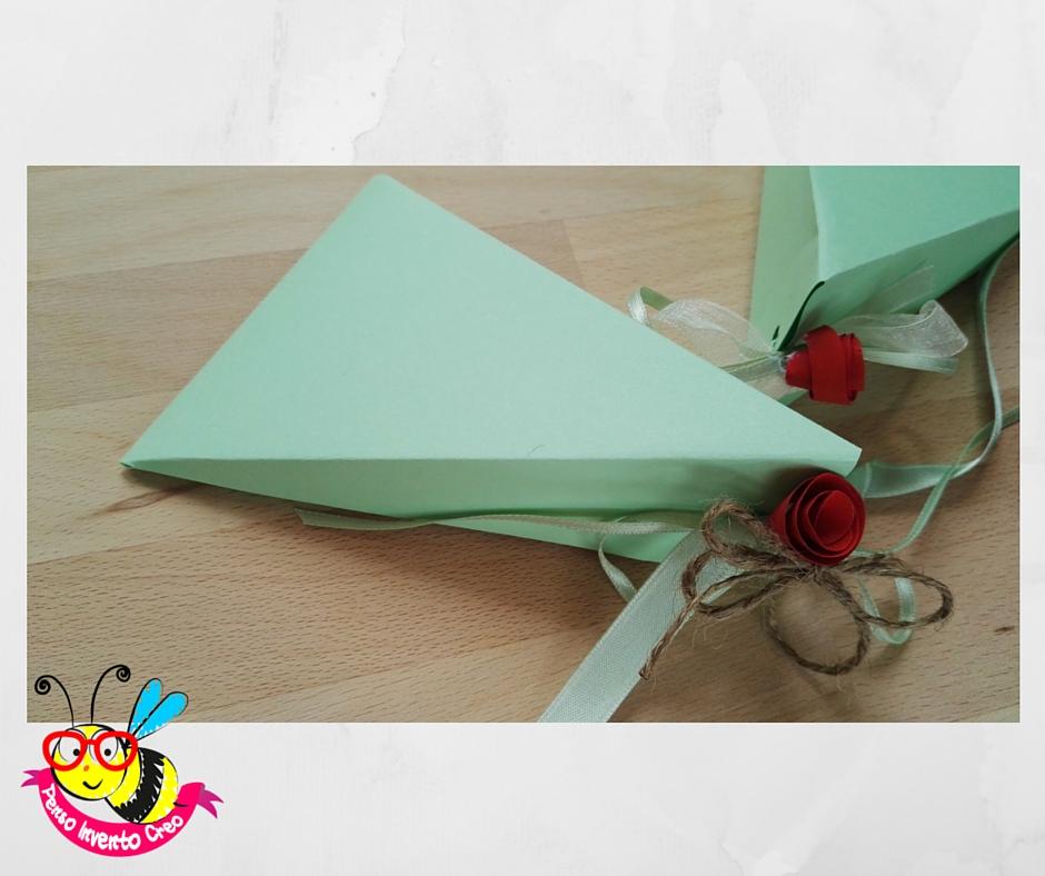 bomboniere fai da te: porta confetti di carta a forma di piramide