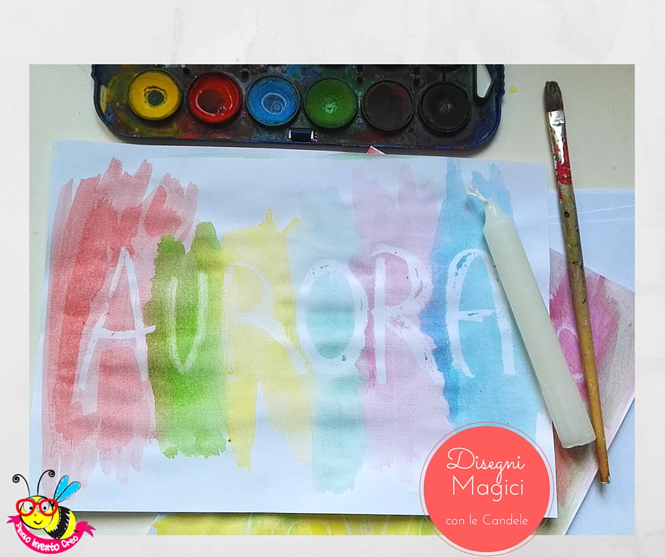 colorare con le candele e gli acquerelli: effetto finale, la scritta appare dopo aver passato gli acquerelli