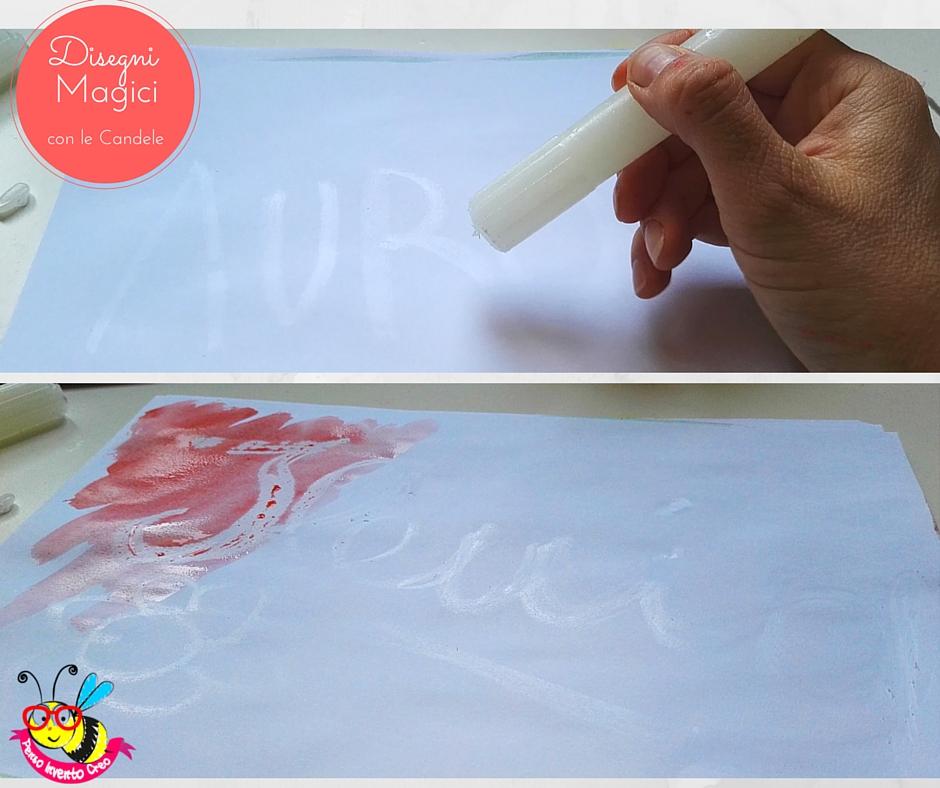 colorare con le candele e gli acquerelli tenendo in mano una candela come se fosse una penna