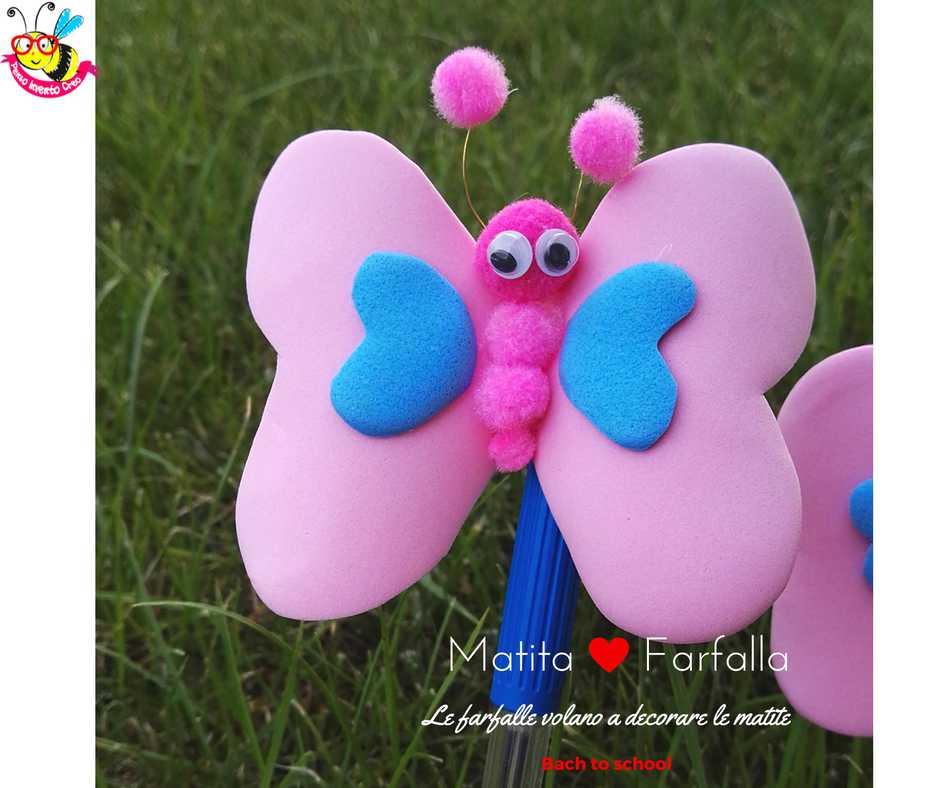 farfalla di gomma crepla o fommy con pom pom e occhi ballerini per decorare le matite a scuola