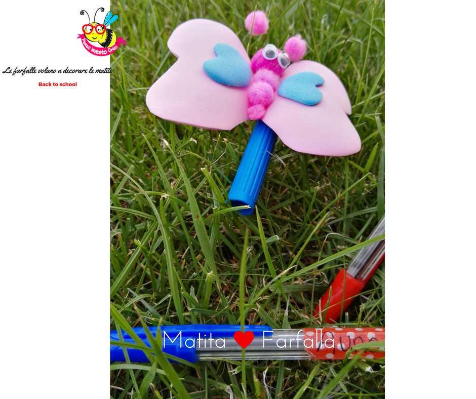 farfalla di gomma crepla o fommy con pom pom e occhi ballerini per decorare le matite a scuola, basta incollarla su un tappo di un pennerello e metterla sulla matita