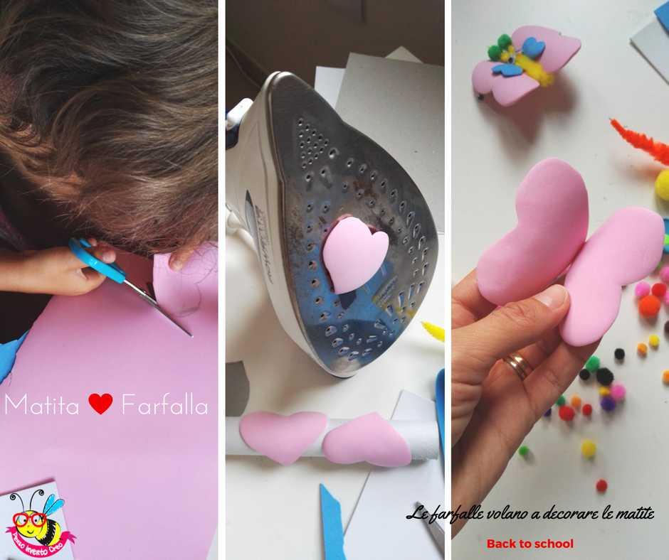 farfalla di gomma crepla o fommy con pom pom e occhi ballerini per decorare le matite a scuola: ritagliare la sagoma, scaldare la forma e incollare