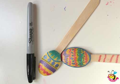 cucchiaio legno decorato pasqua