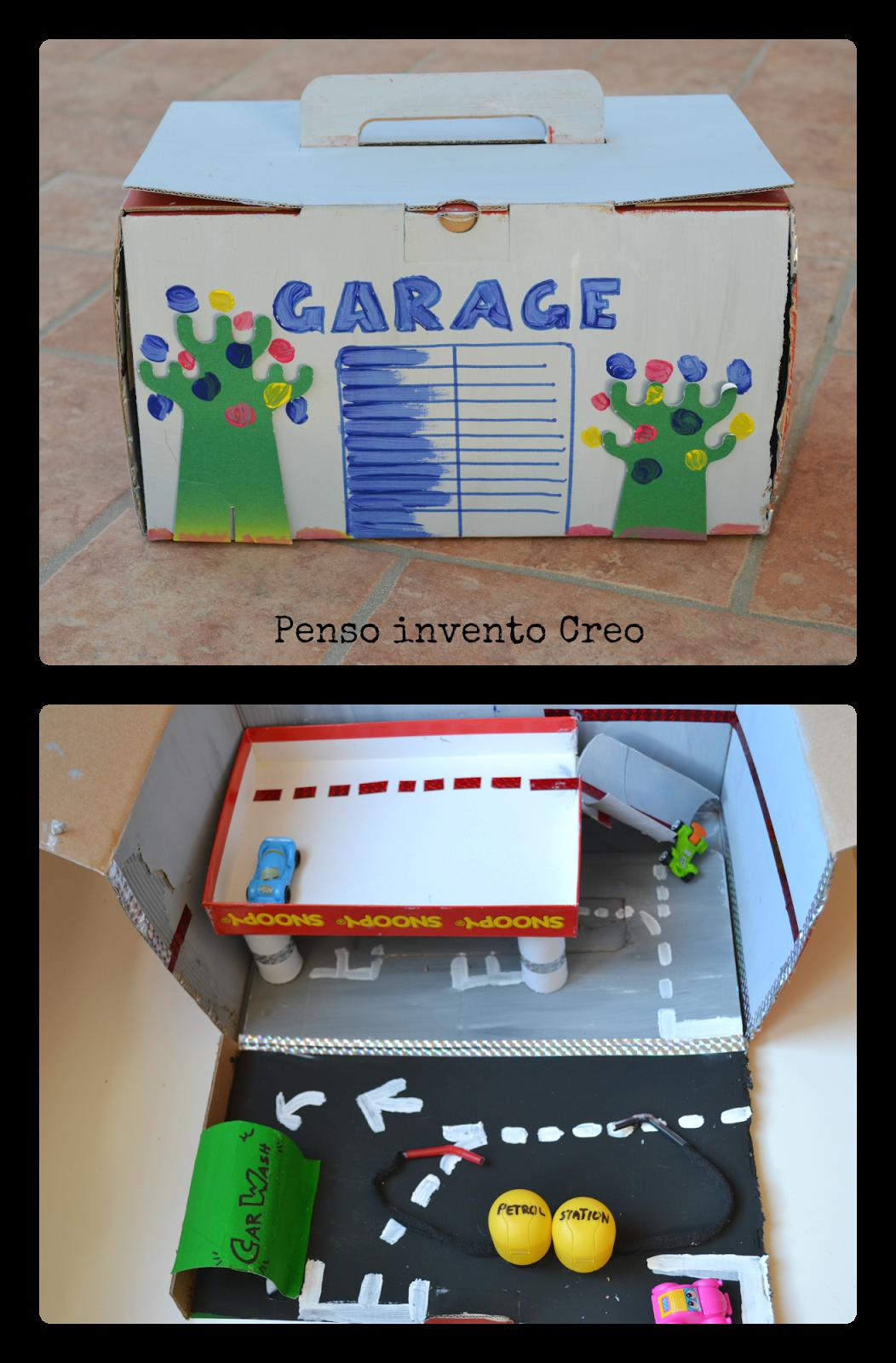 Riciclo creativo per bambini garage di cartone le