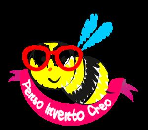 logo pensoinventocreo ape con gli  occhiali rossi