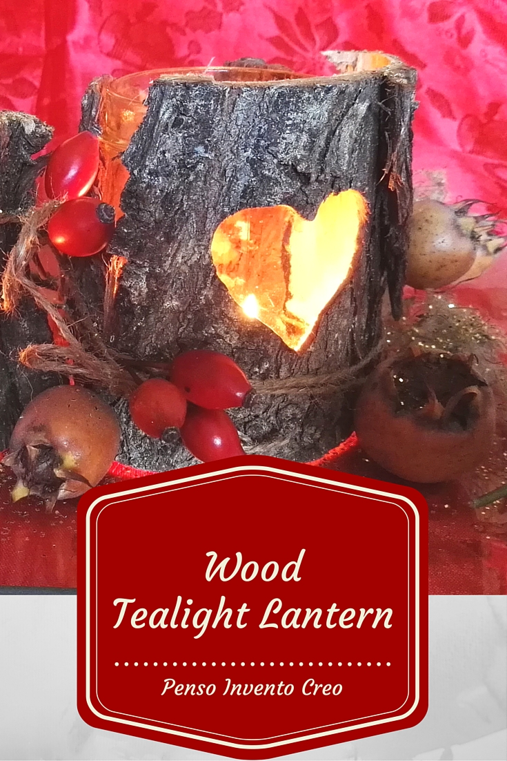 Wood Tealight Lantern , drilling heart