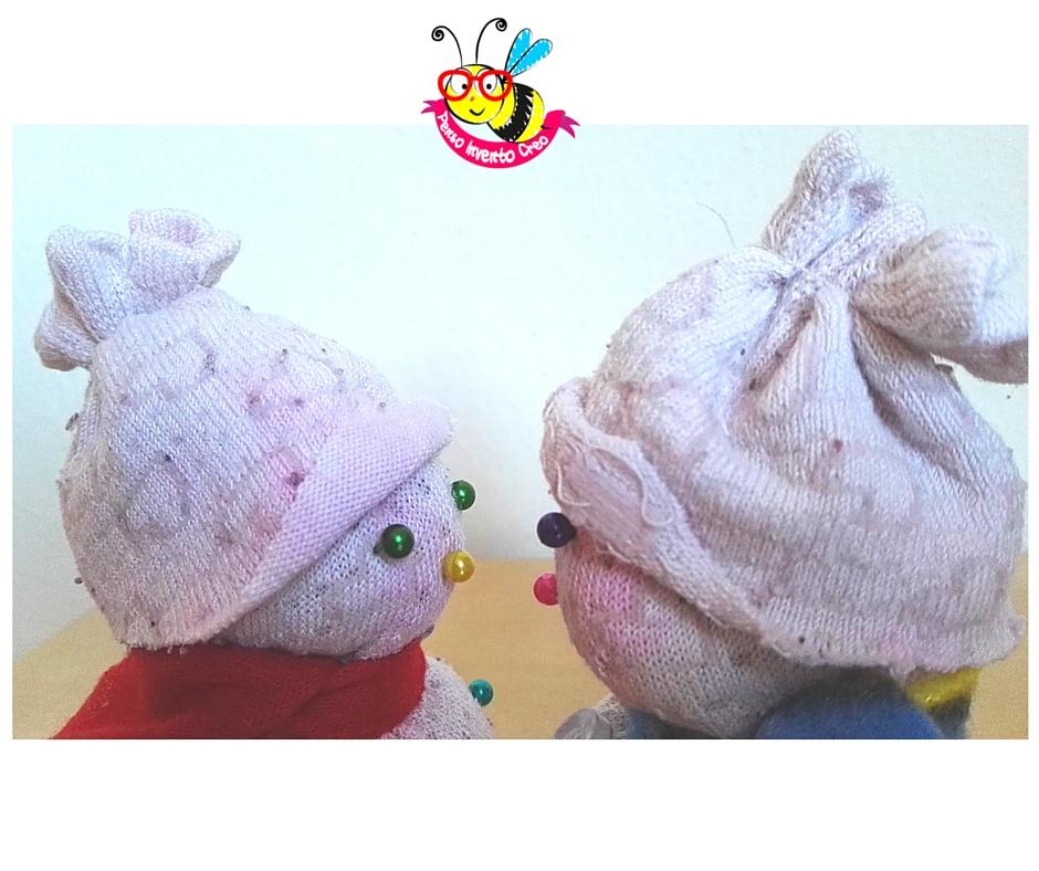 snow man socks pupazzo di neve creato con un calzino