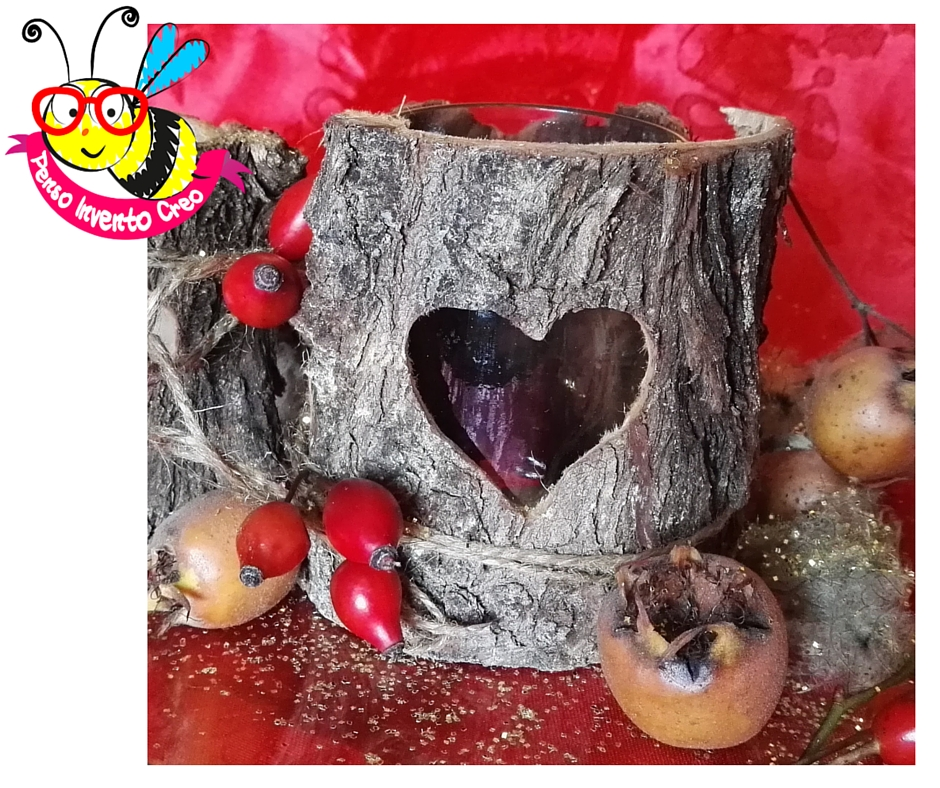 Wood Tealight Lantern drilling heart