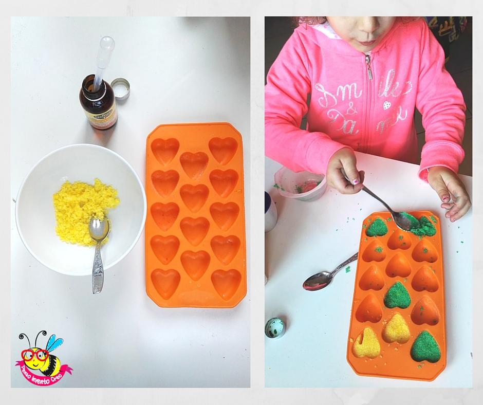 zollette di zucchero a forma di cuore fatte in casa, come farle con gli stampi di silicone