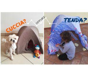 cuccia per cani fatta con un vecchio maglione di lana e dei tubi di plastica, con lo stesso tutorial si crea un tenda per giocare con i bambini