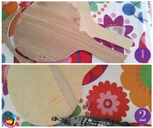 racchette di legno sagoma in fase di levigatura