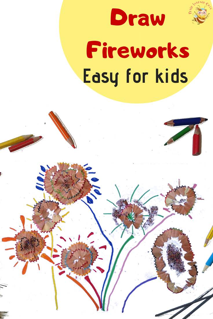 pencil shaving kids craft - fire work