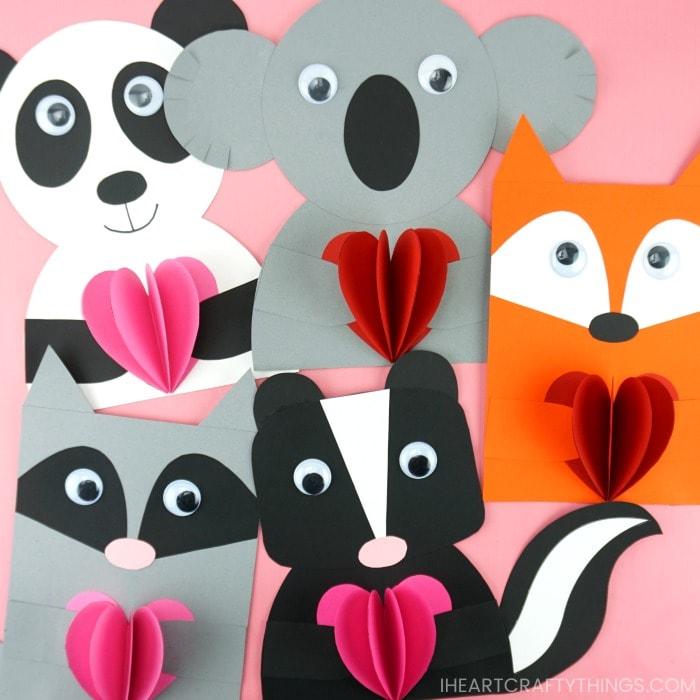 Animali di carta con i cuori per bambini