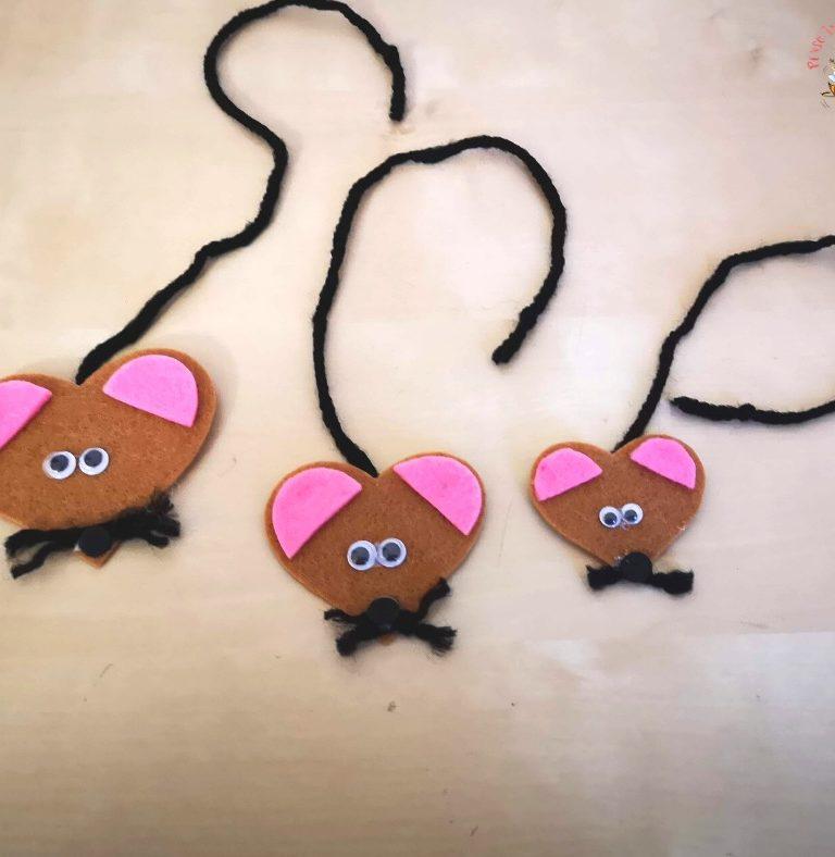 topolini a cuore di feltro