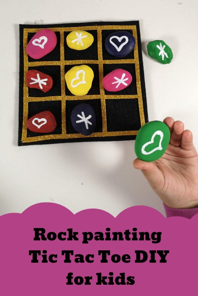 Rock painting Tic Tac Toe DIY for kids